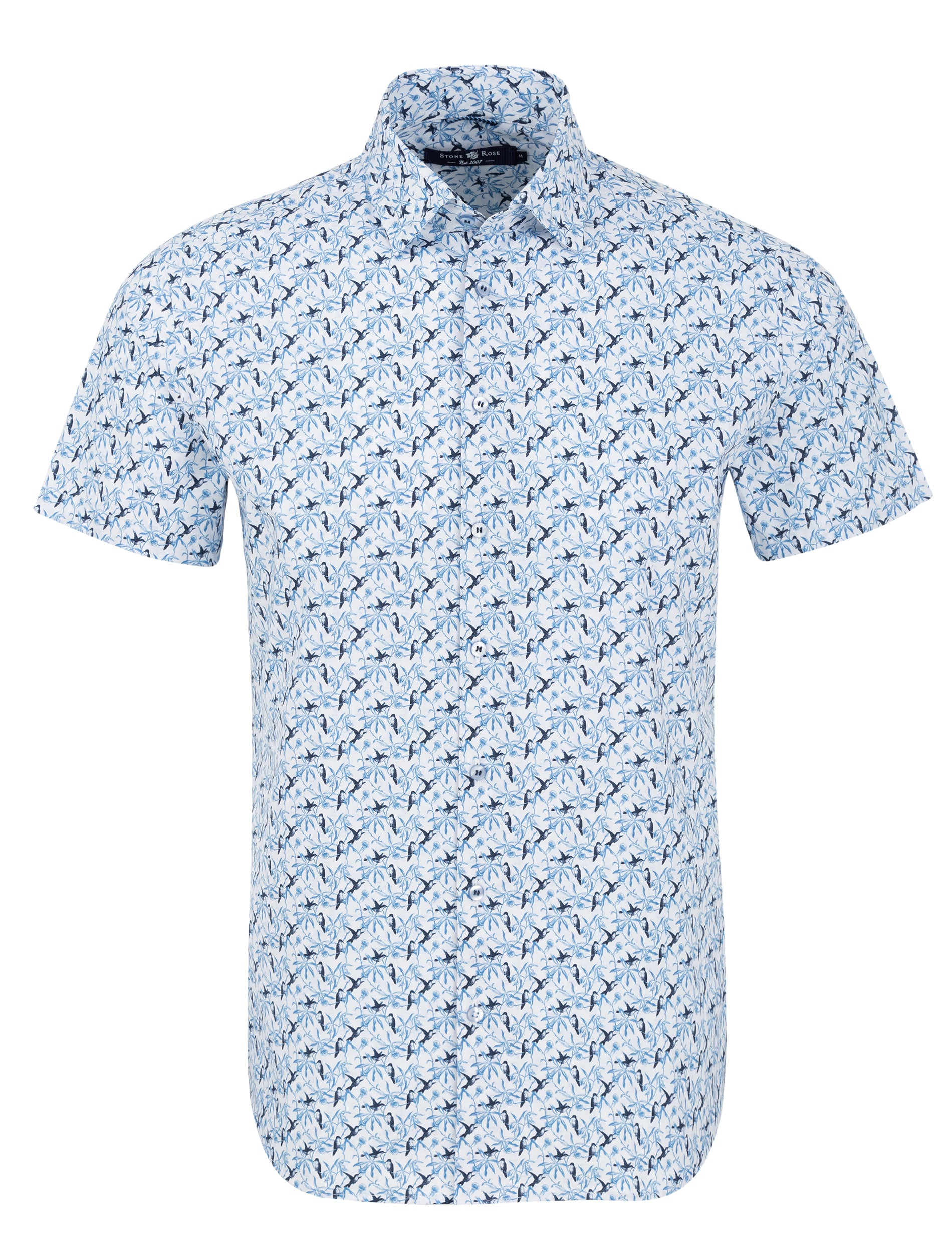Blue Bird Print Short Sleeve Shirt-Stone Rose