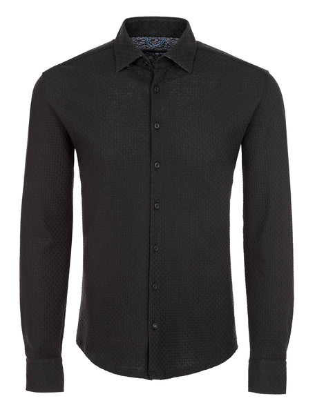 Black Basketweave Knit Long Sleeve Shirt