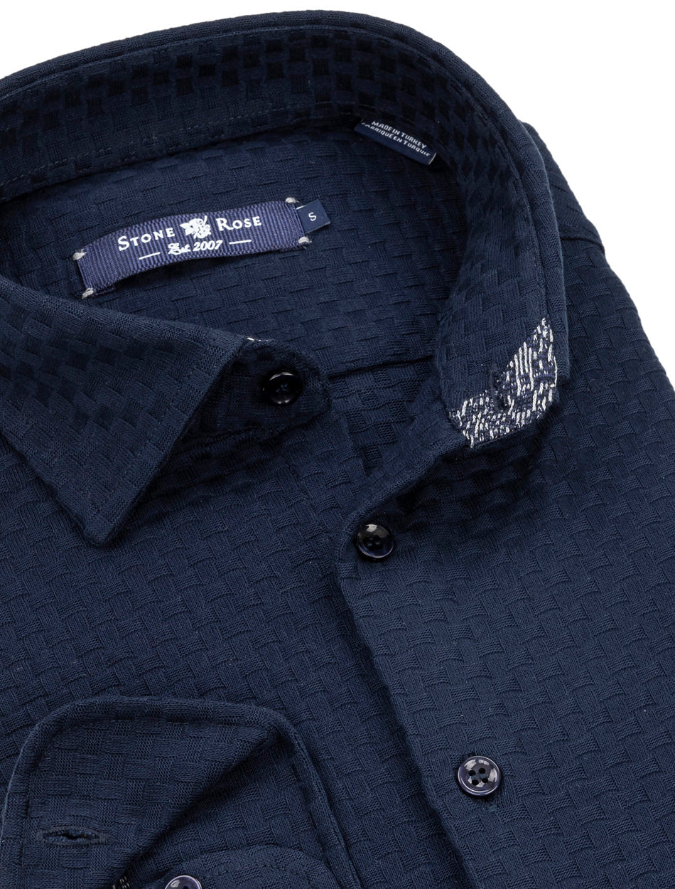 Navy Basketweave Knit Long Sleeve Shirt-Stone Rose