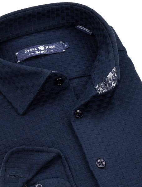 Navy Basketweave Knit Long Sleeve Shirt