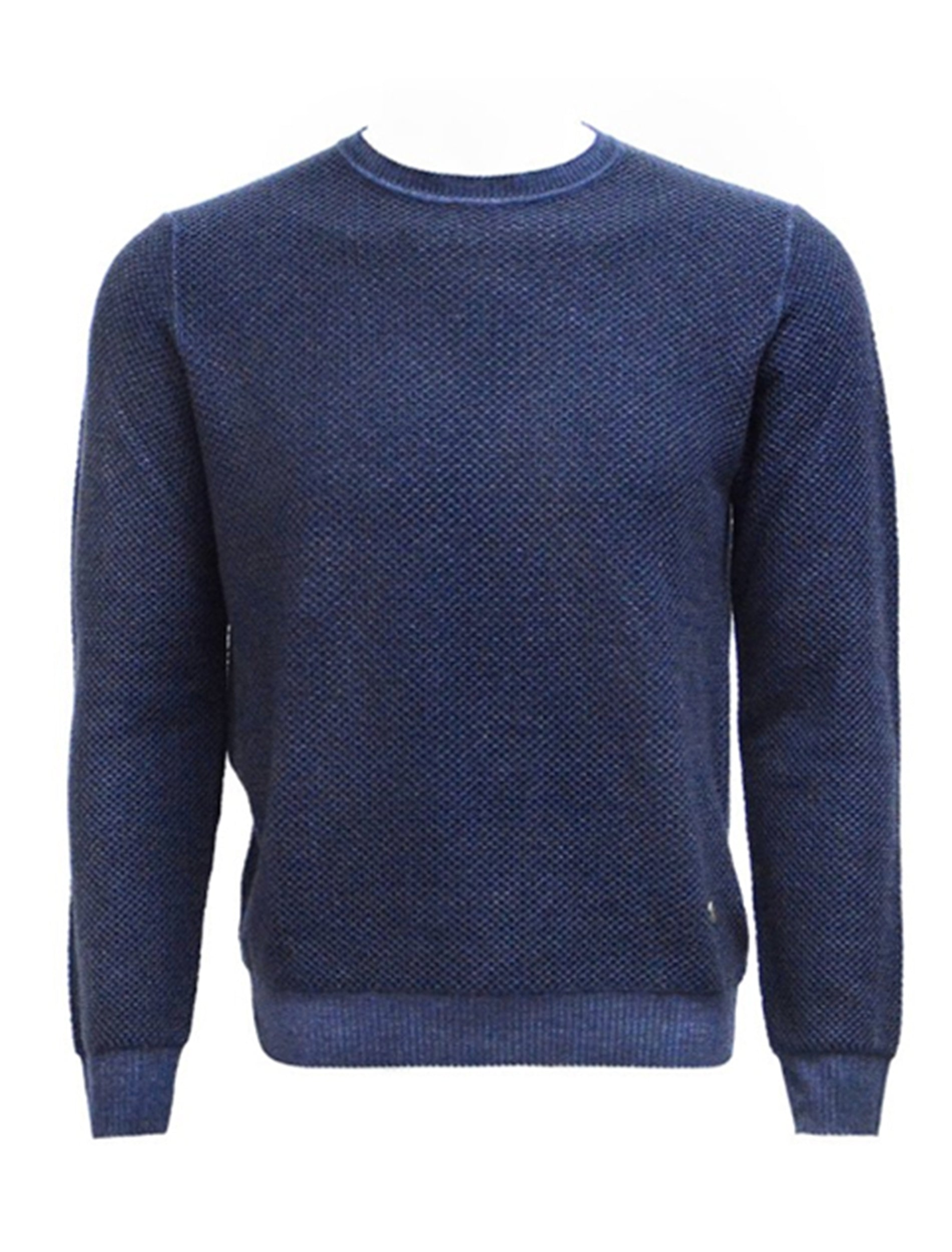 Navy Honeycomb Knit Sweater-Stone Rose