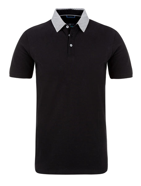 Black Pique Knit Polo