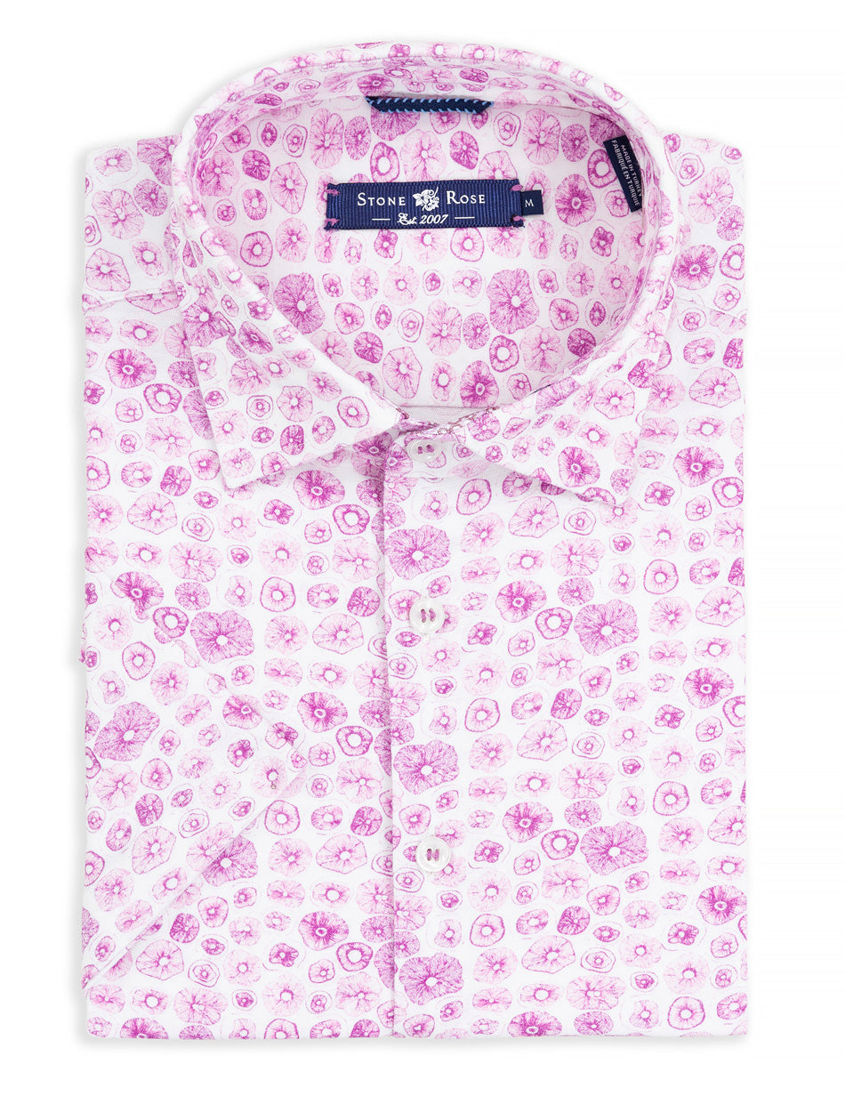 Bright Purple Mushroom Print Knit Short Sleeve Shirt-Stone Rose