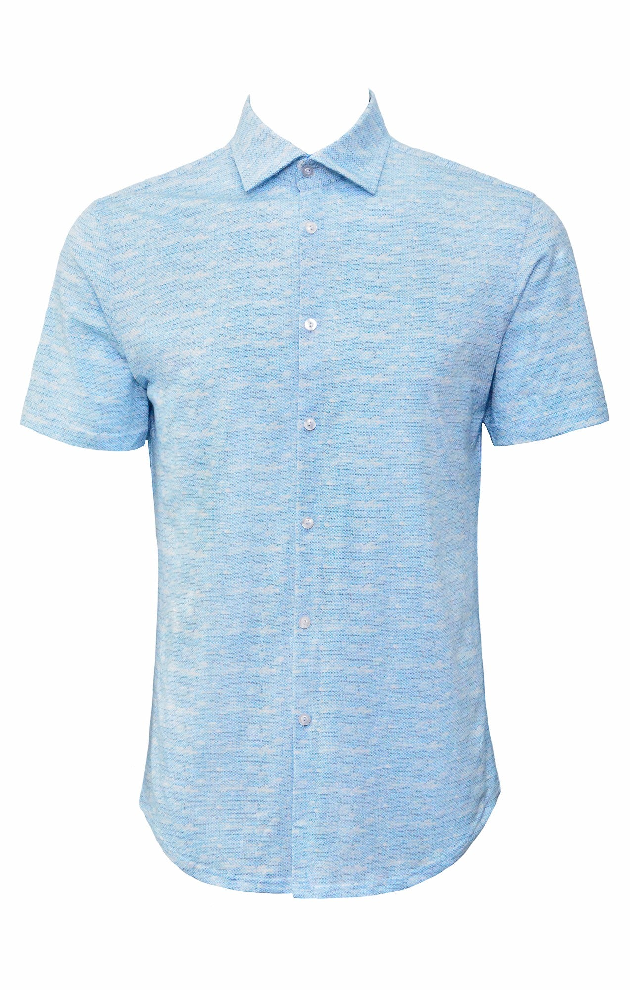 Stone Rose Men's Blue Melange Knit Short Sleeve Shirt-Stone Rose