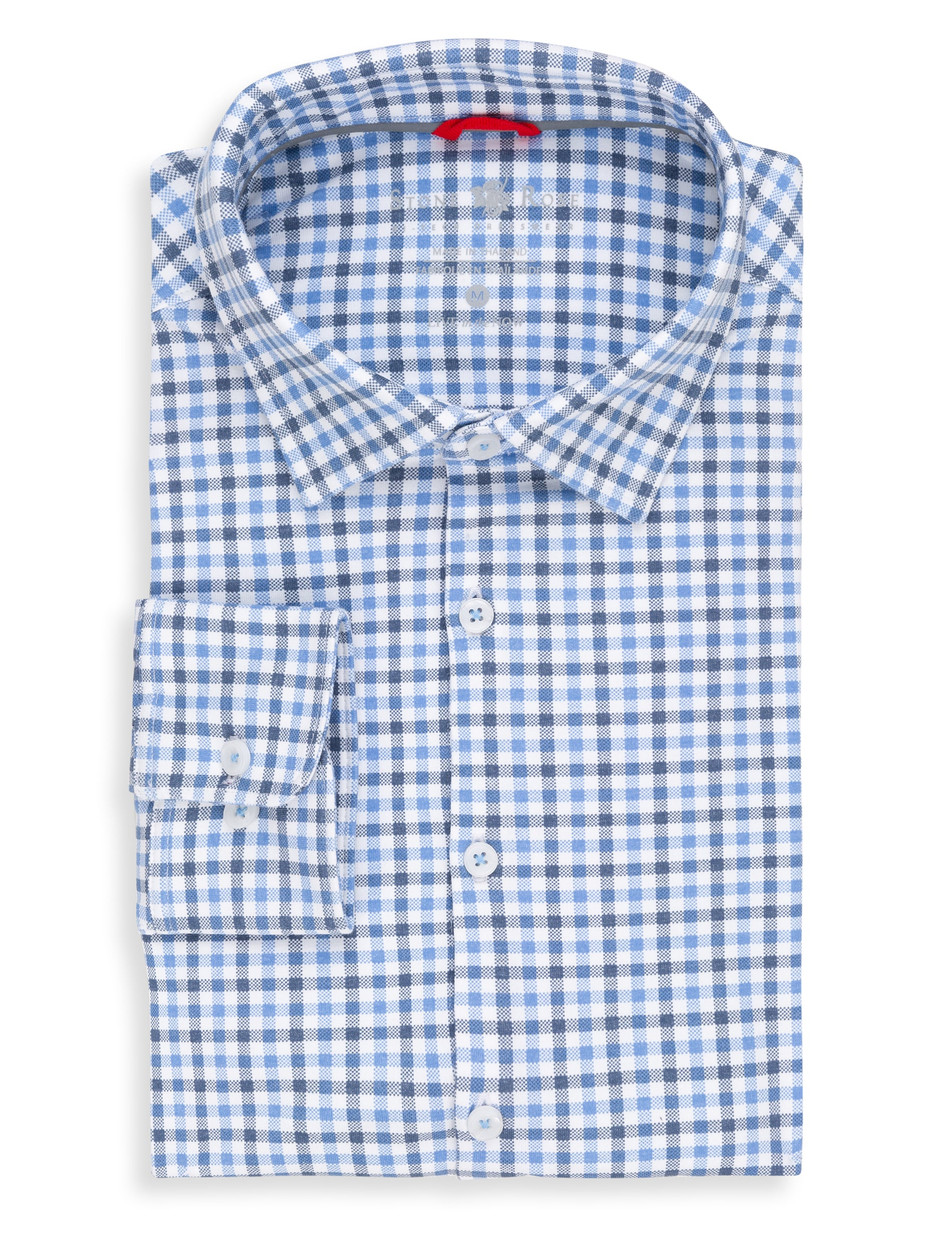 Blue Check Performance Knit Long Sleeve Shirt