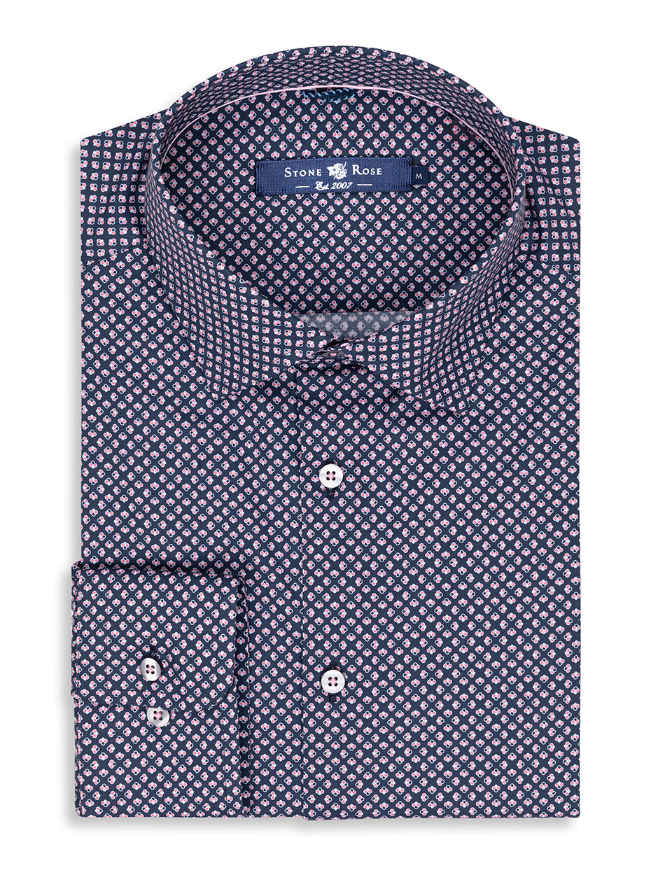 Navy Geometric Print Long Sleeve Shirt