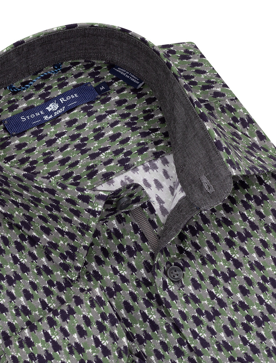 Olive Forest Print Long Sleeve Shirt-Stone Rose