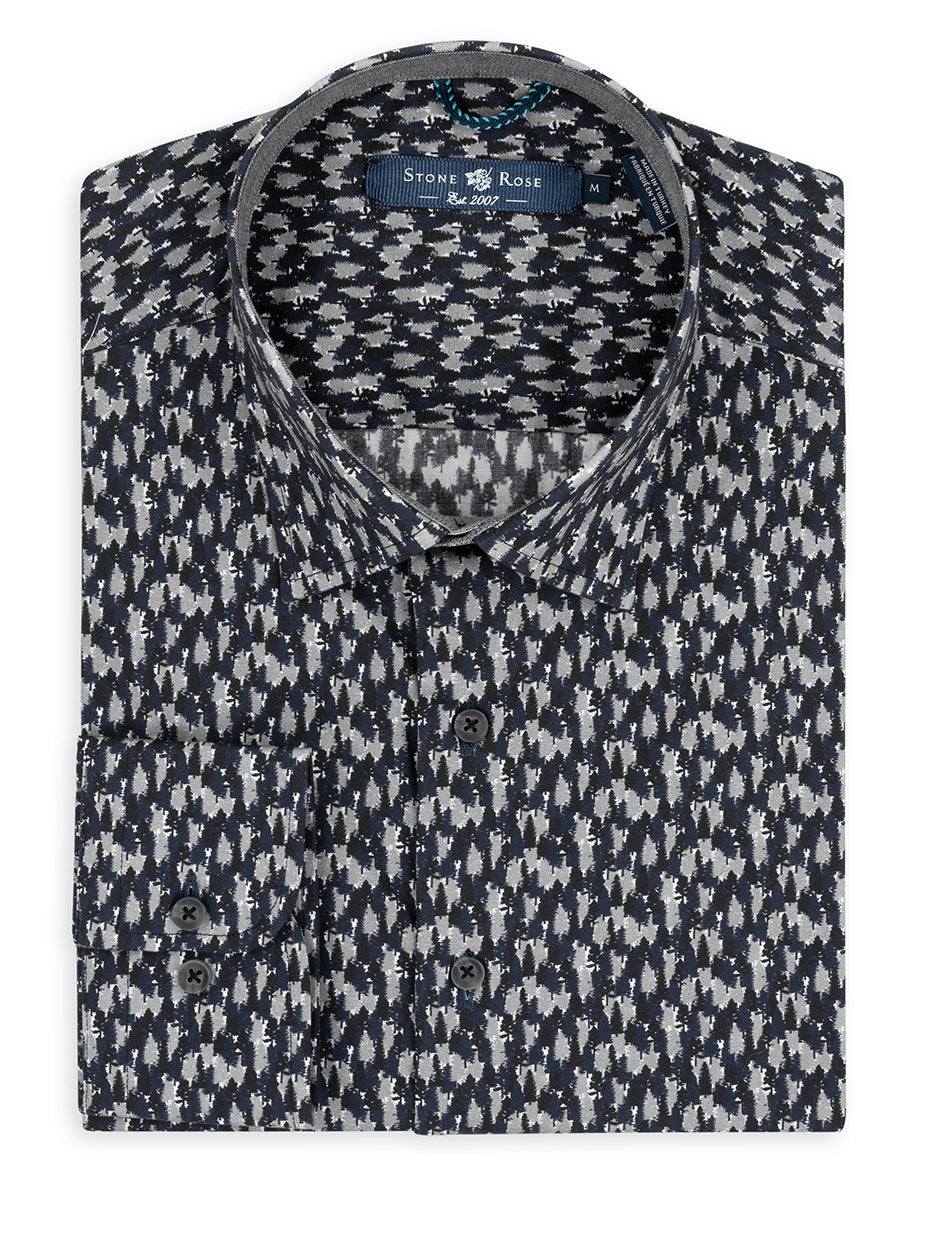 Navy Forest Print Long Sleeve Shirt-Stone Rose