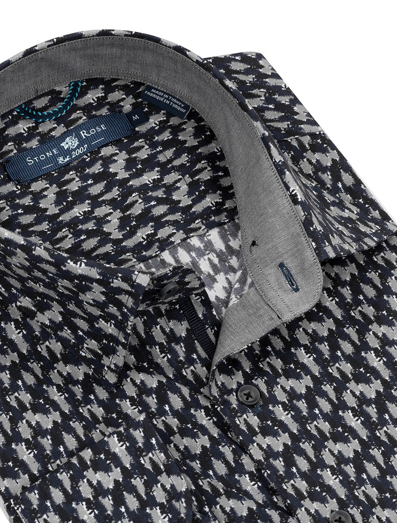 Navy Forest Print Long Sleeve Shirt