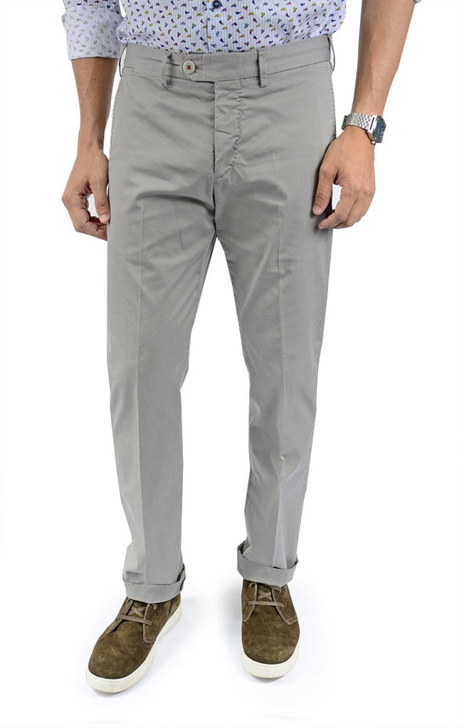 Men's Italian Garment Dyed Chino in Gray - CTA 6101