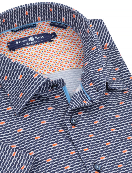 Close-up view of a blue button-up shirt from Stone Rose showing off the contrast orange fabric on the inside of the collar.