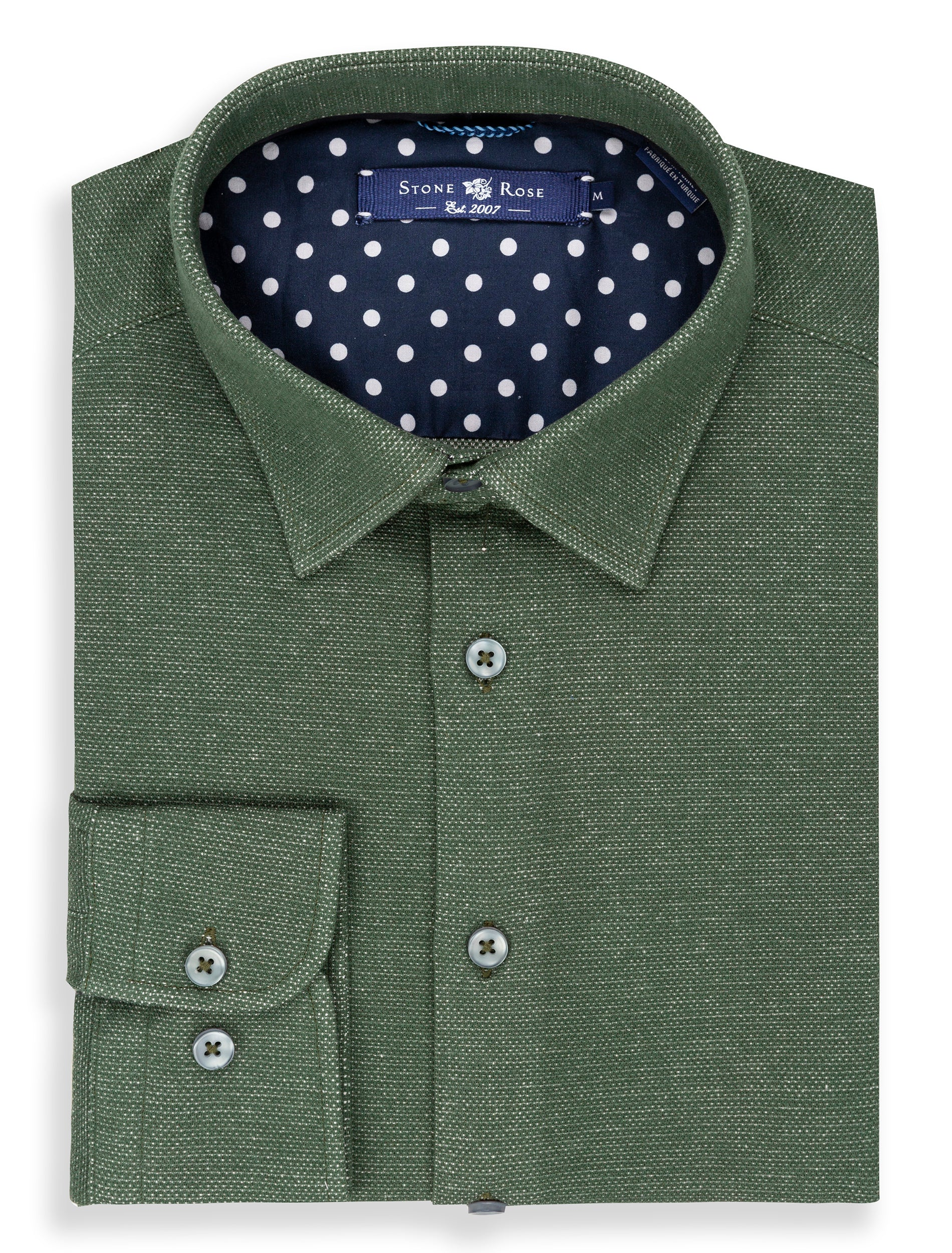 Olive Oxford Knit Long Sleeve Shirt-Stone Rose