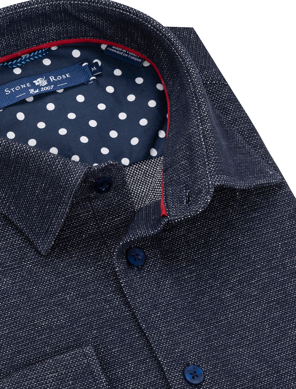 Navy Oxford Knit Long Sleeve Shirt-Stone Rose