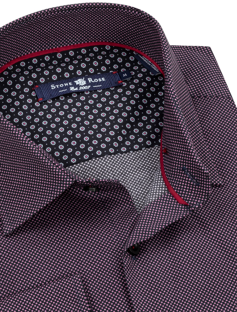 Black Micro Polka Dot Long Sleeve Shirt