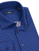 Navy Double Sided Check Print Long Sleeve Shirt
