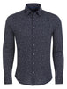 Blue Jacquard Knit Long Sleeve Shirt
