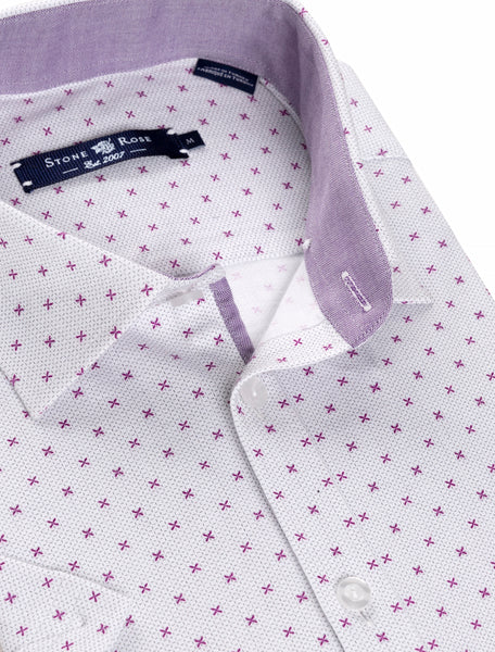 Purple Cross Print Short Sleeve Shirt