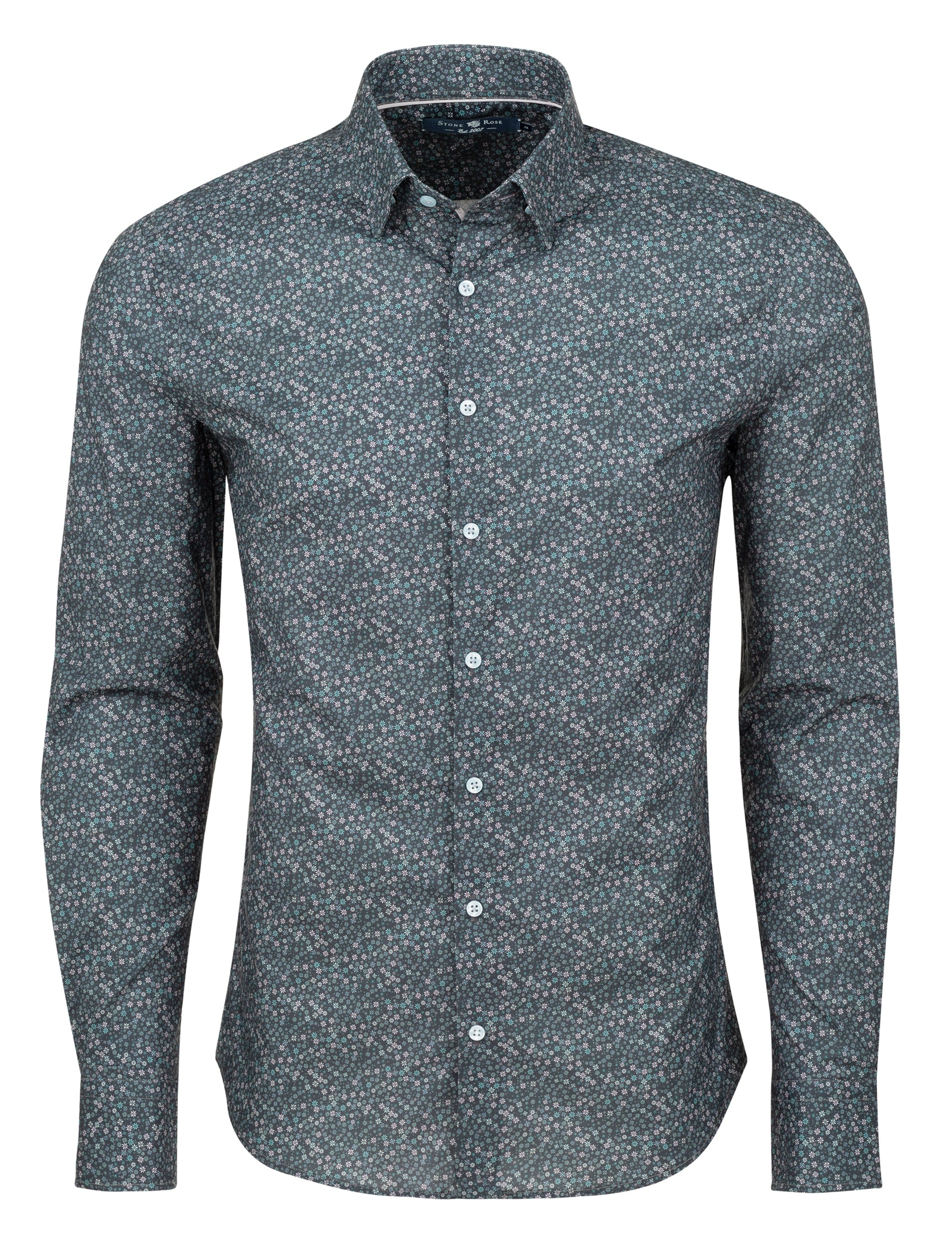 Grey Ditsy Print Long Sleeve Shirt