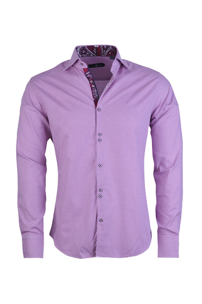 Men's Vibrant Pink Houndstooth Button Up Shirt - FLR 6902