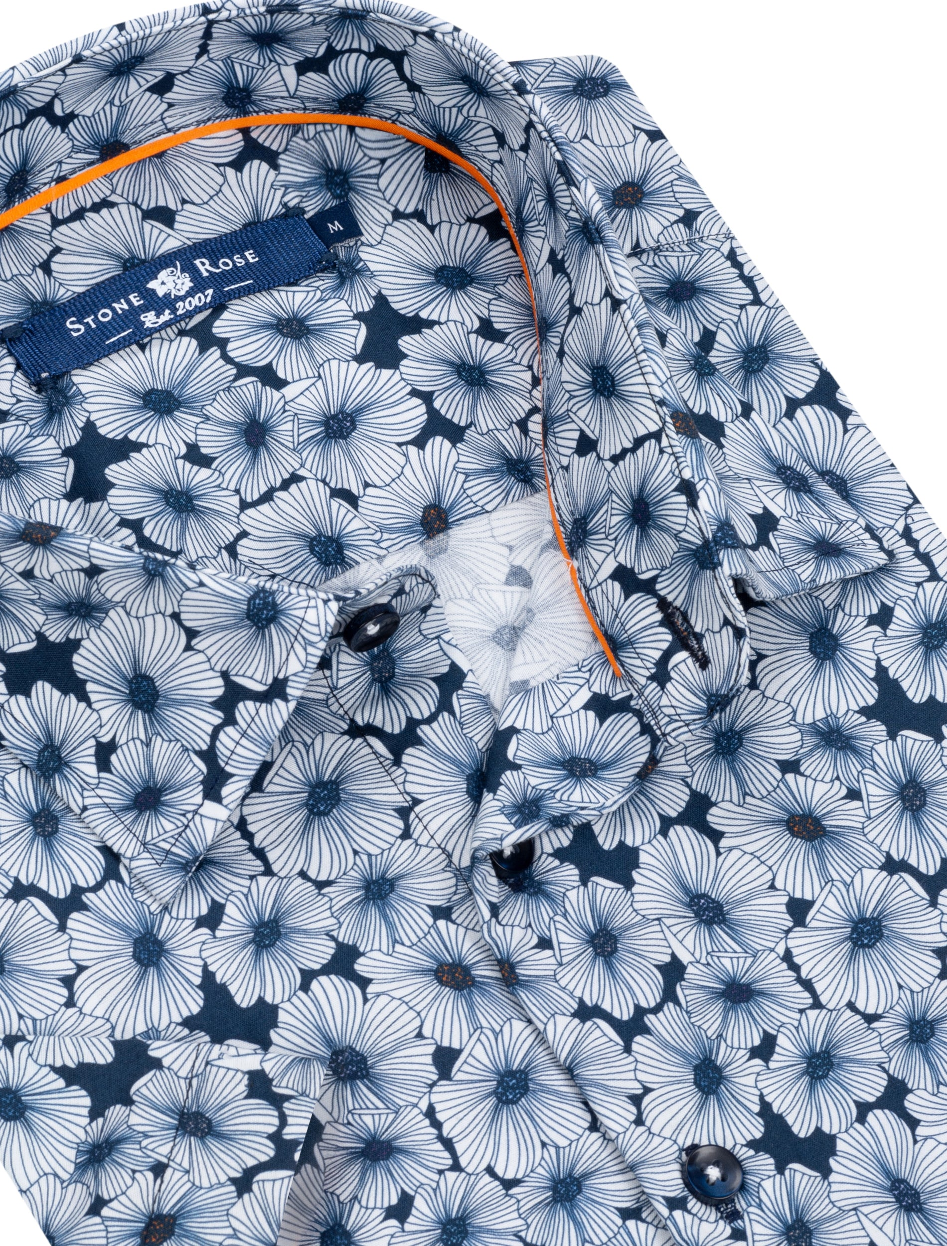 Navy Large Floral Print Short Sleeve Shirt