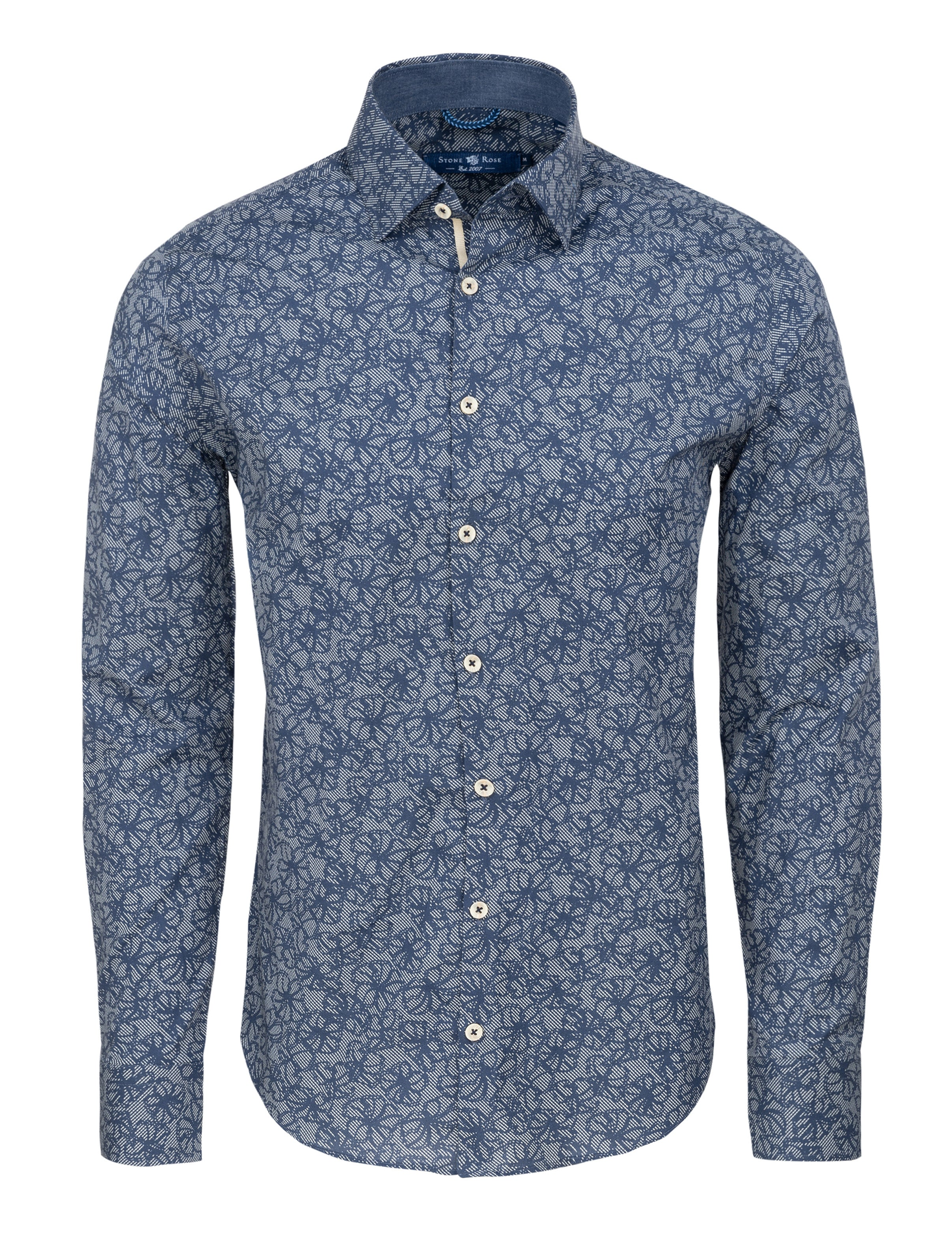 Navy Floral Print Long Sleeve Shirt-Stone Rose