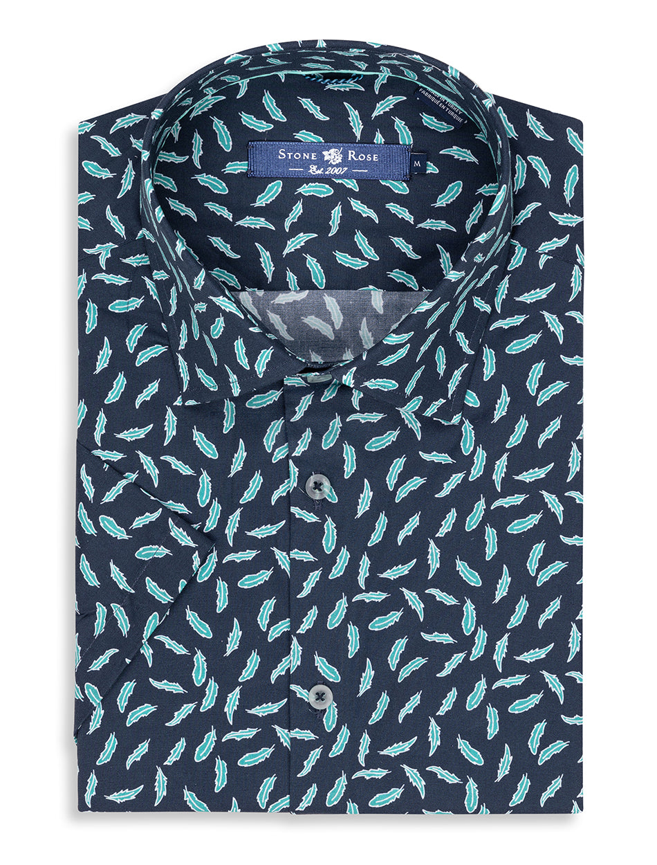 Navy Novelty Print Short Sleeve Shirt