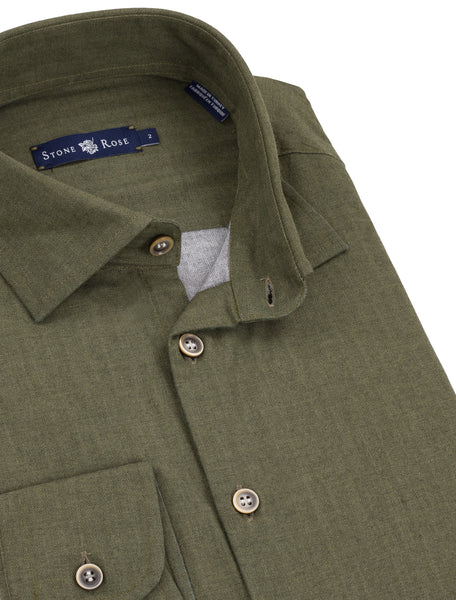 Khaki Double Sided Woven Long Sleeve Shirt