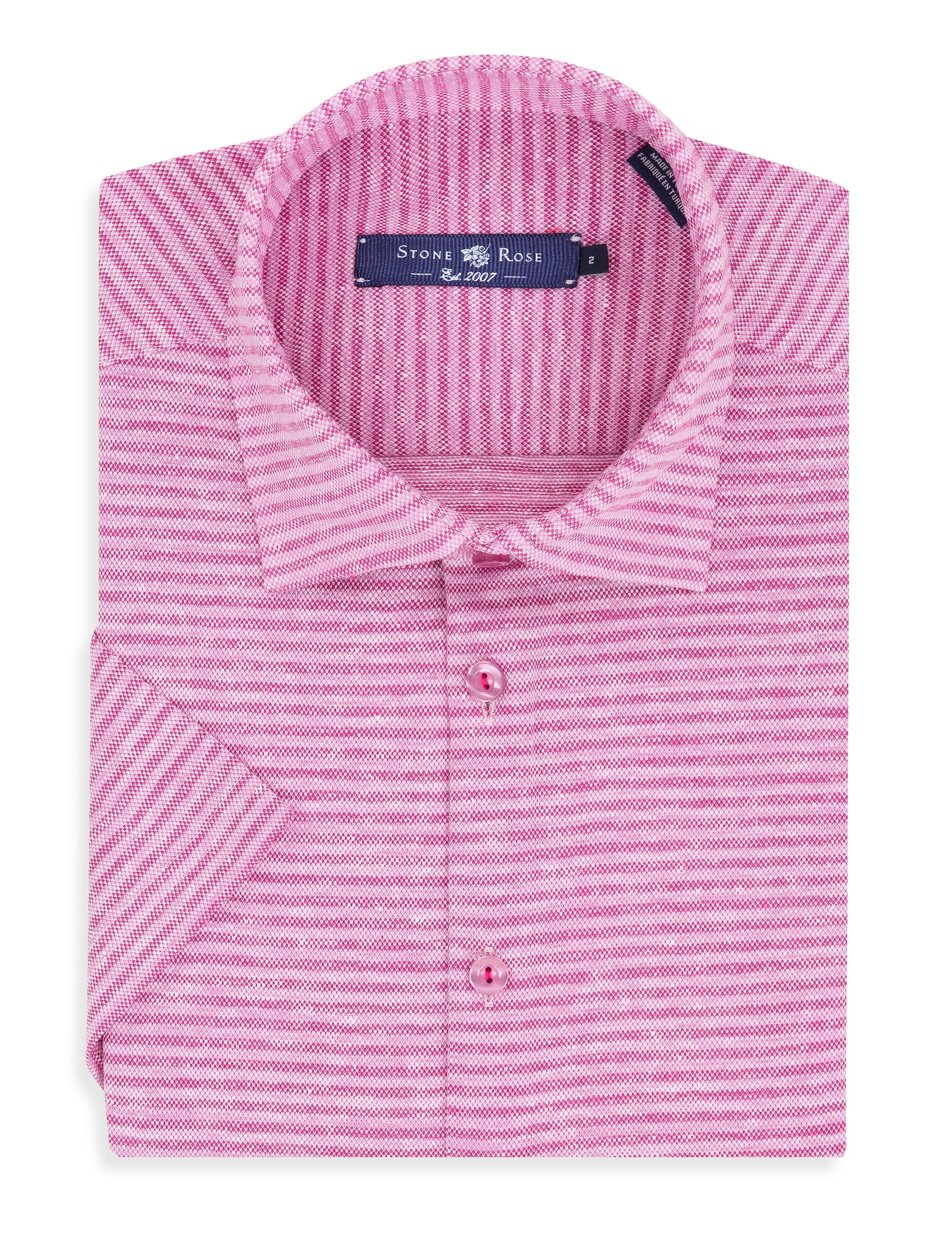 Pink Striped Knit Short Sleeve Shirt-Stone Rose