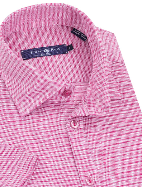 Pink Striped Knit Short Sleeve Shirt
