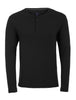 Black Long Sleeve Modal Henley-Stone Rose
