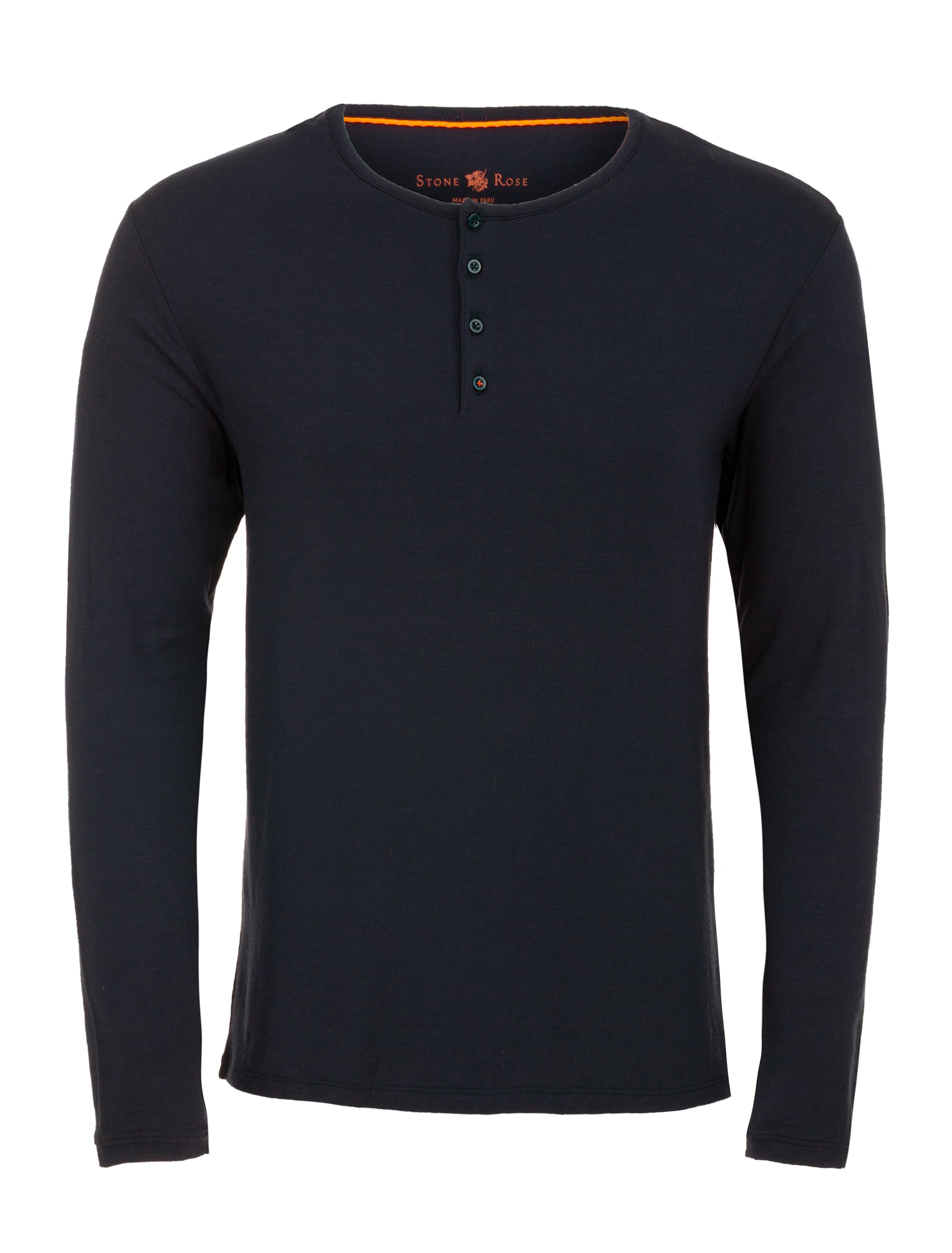 Navy Long Sleeve Modal Henley-Stone Rose