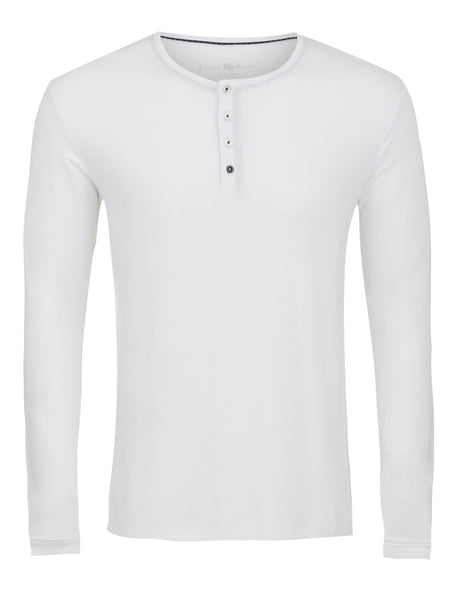 White Long Sleeve Modal Henley