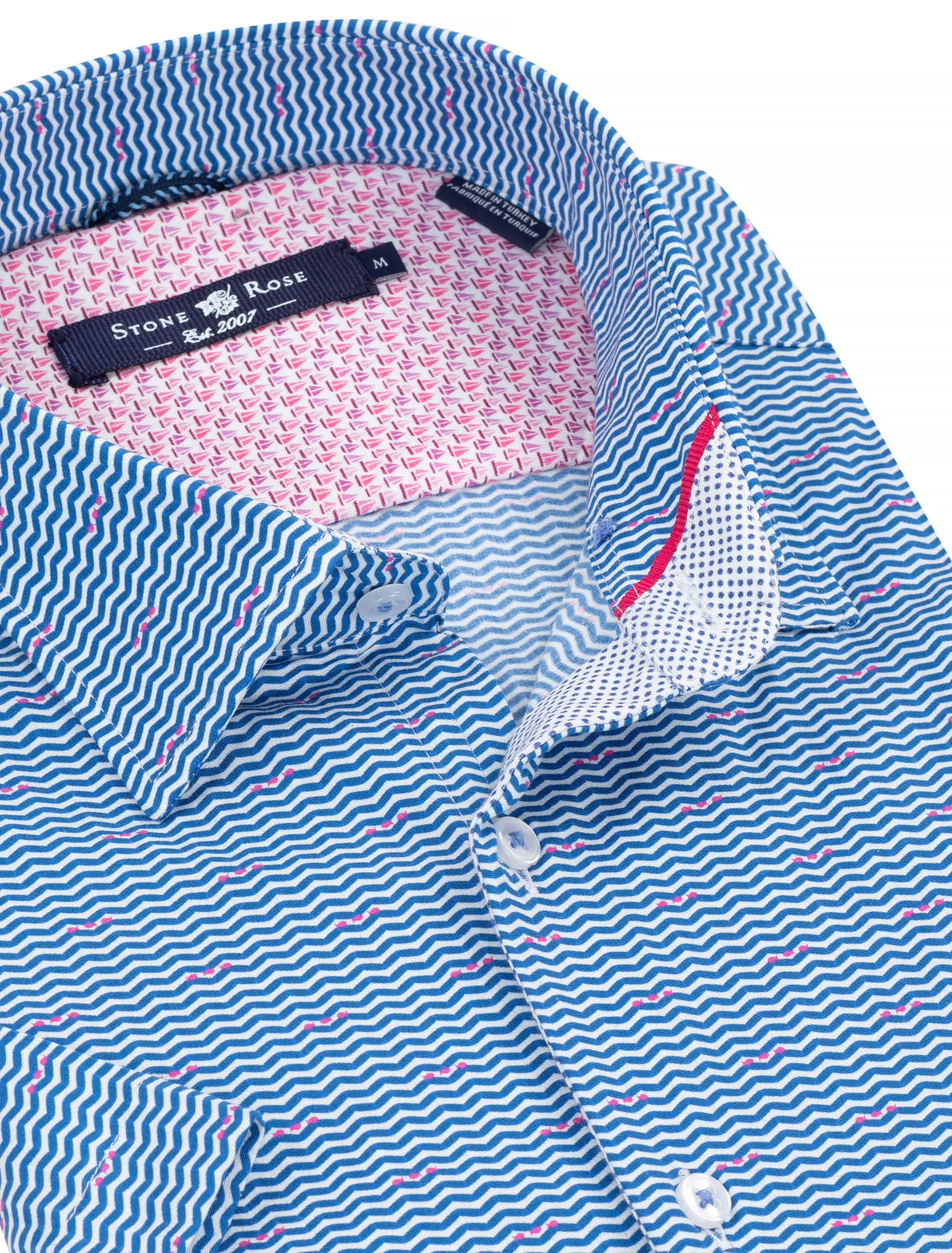 Blue Stripe Print Short Sleeve Shirt-Stone Rose