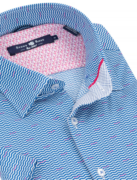 Close-up view of a blue button-up shirt from Stone Rose featuring the contrast trim details on the inside collar.
