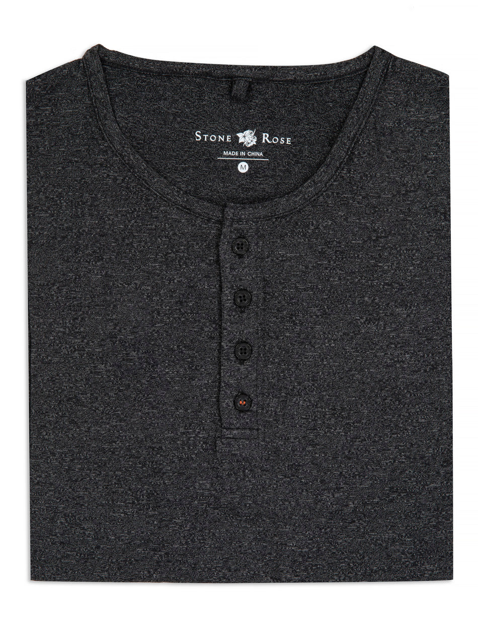 Charcoal Triblend Short Sleeve Henley-Stone Rose
