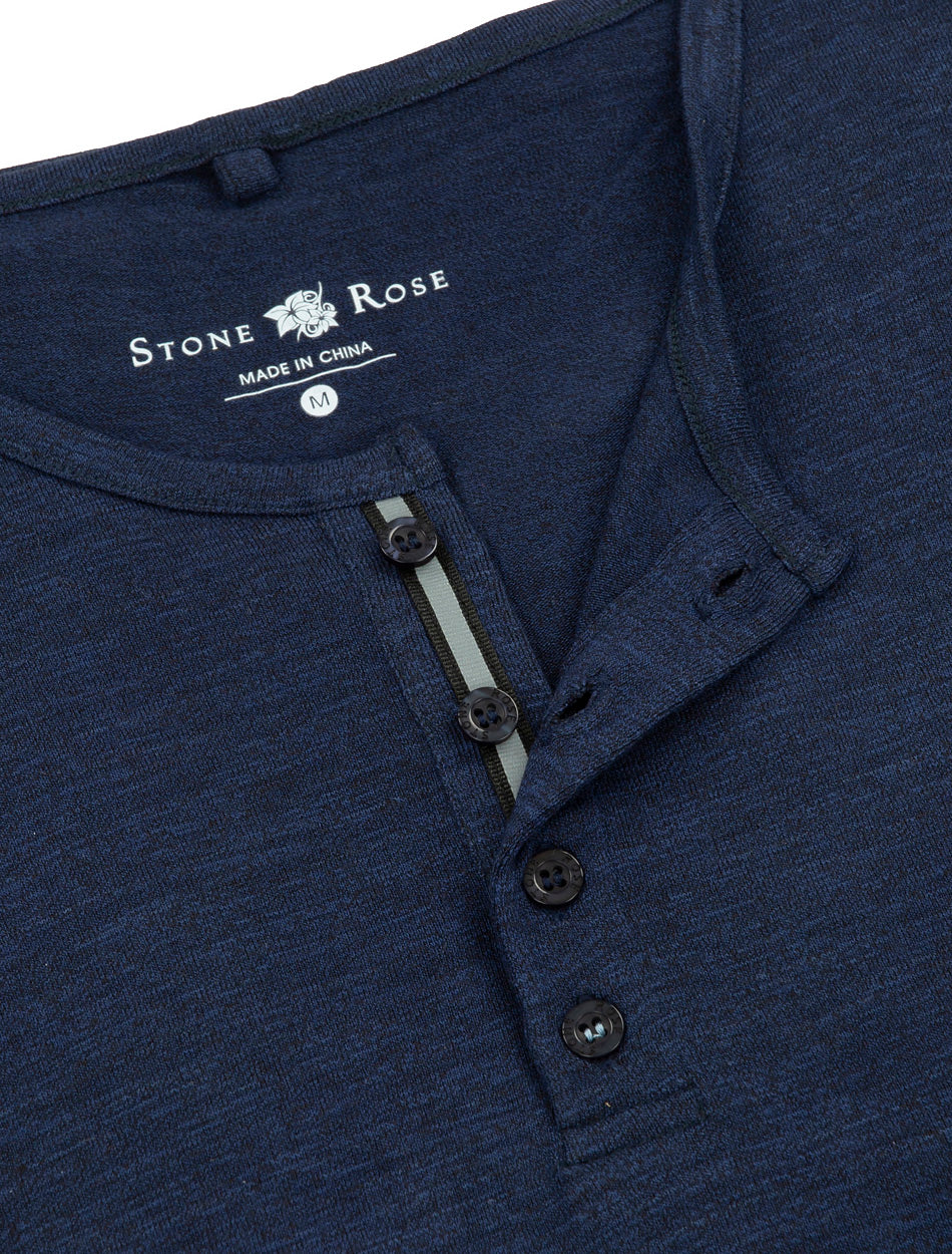 Dark Navy Triblend Short Sleeve Henley-Stone Rose
