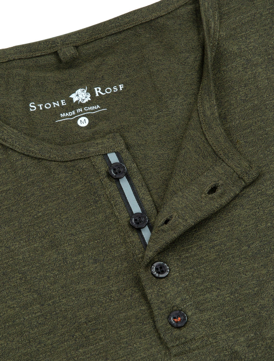 Khaki Triblend Short Sleeve Henley-Stone Rose