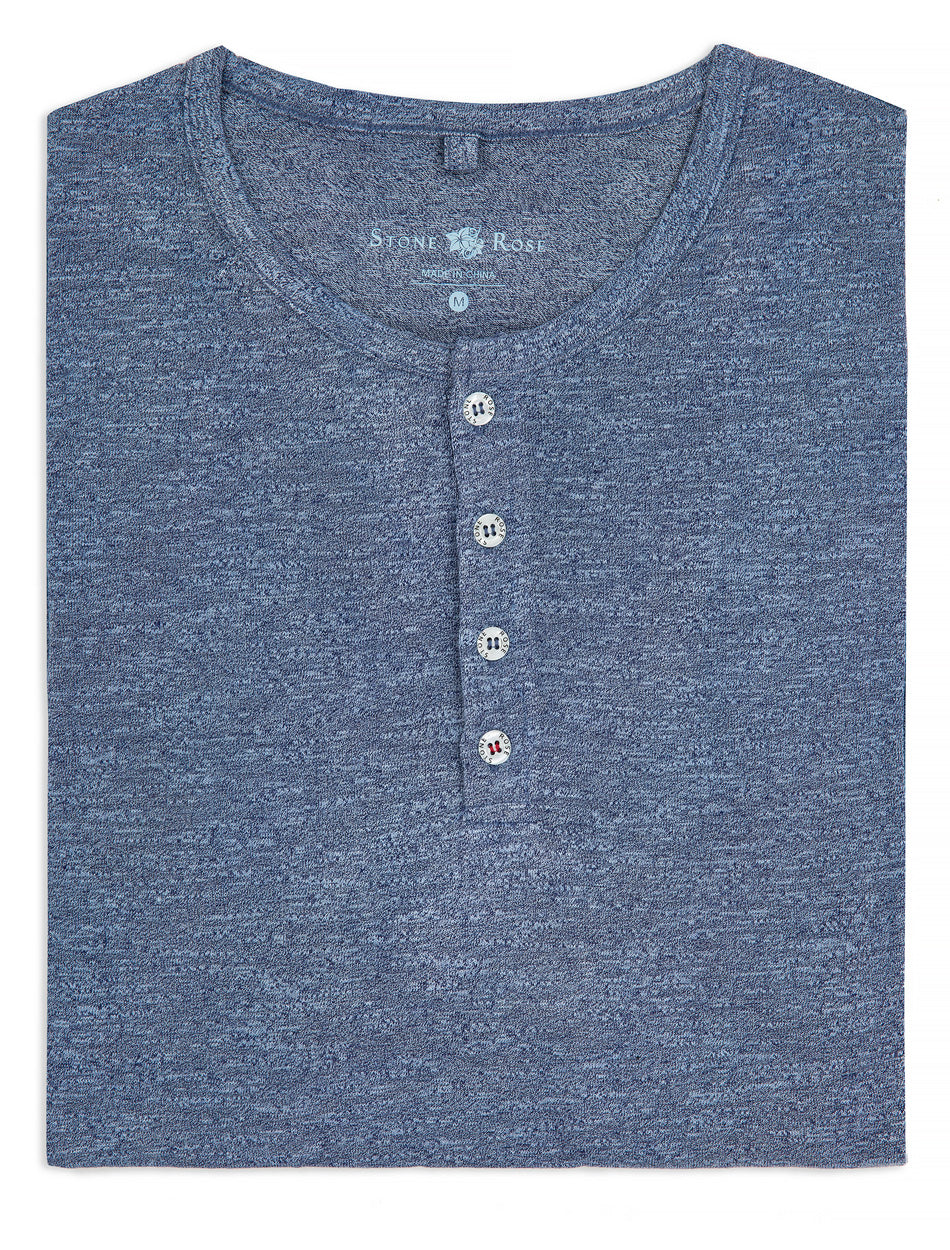 Navy Triblend Short Sleeve Henley-Stone Rose