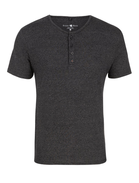 Image showing the entire front of a gray, short-sleeve henley from Stone Rose.