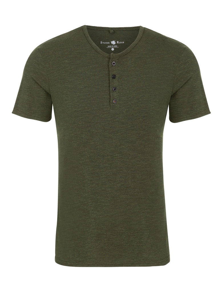 Image of a short-sleeve henley from Stone Rose in a triblend khaki green.