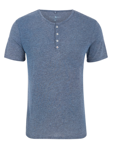 Navy Triblend Short Sleeve Henley
