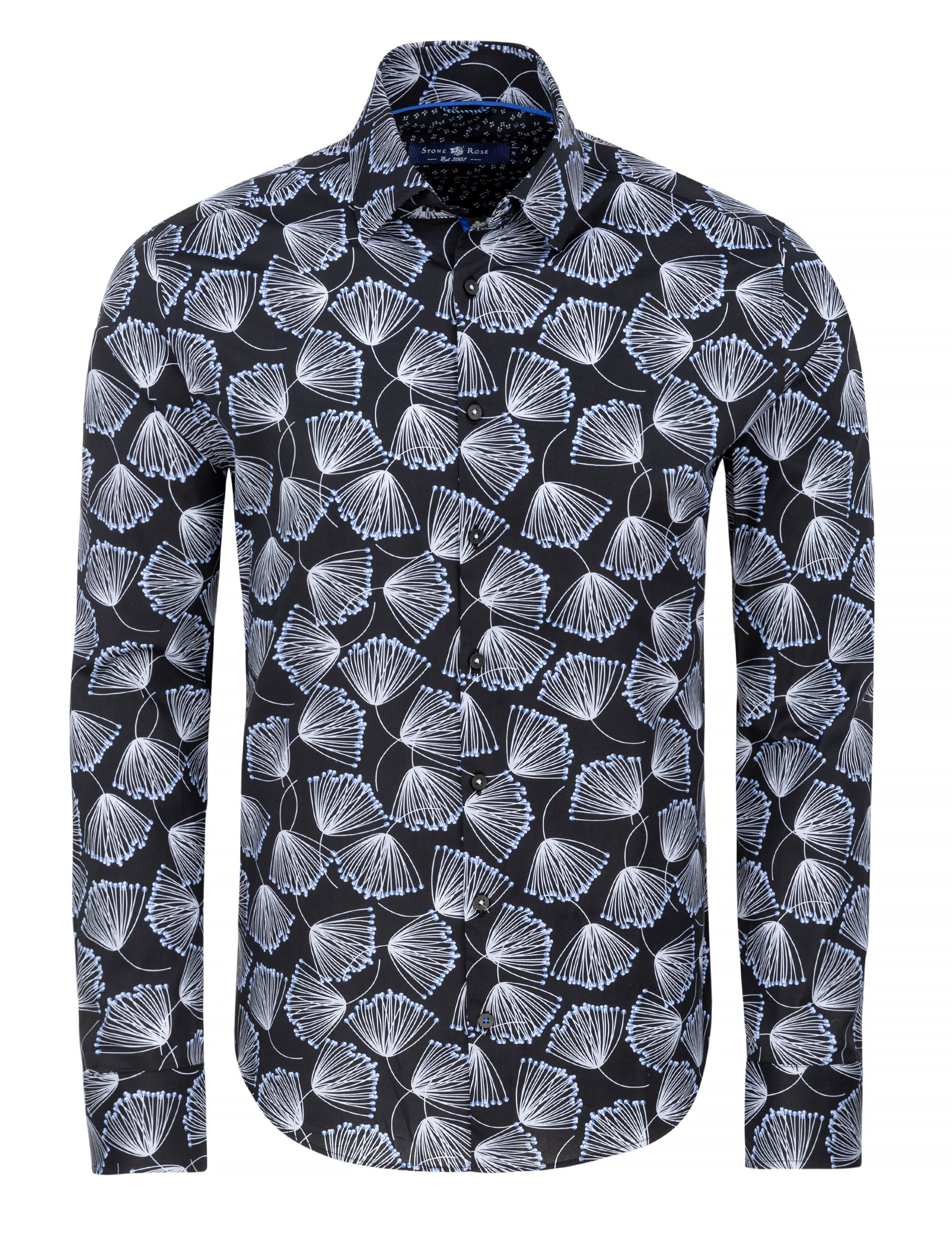 Black Dandelion Print Long Sleeve Shirt-Stone Rose
