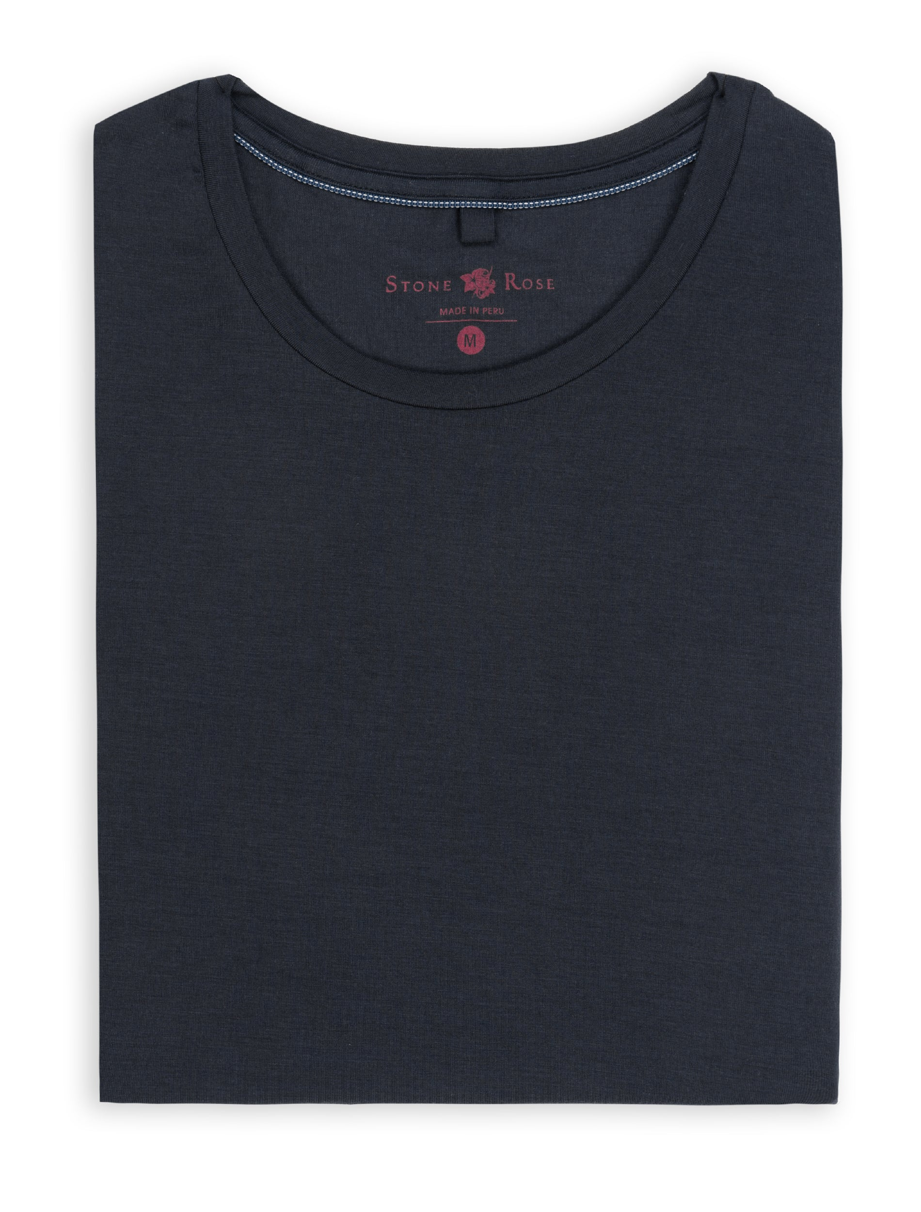 Navy Crew Neck Modal T-Shirt-Stone Rose