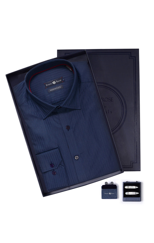 Men's Box Set with Stripe Shirt in Navy