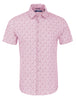 Full view of a short-sleeve button-up from Stone Rose with a fun, bold pineapple print in pink.