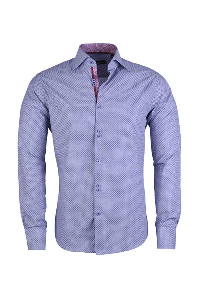 Men's Polka Dot Print Button Up Shirt in Soft Blue - LAS 6907