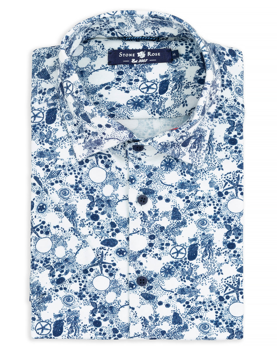 Navy Ocean Print Knit Short Sleeve Shirt-Stone Rose
