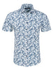 Navy Ocean Print Knit Short Sleeve Shirt