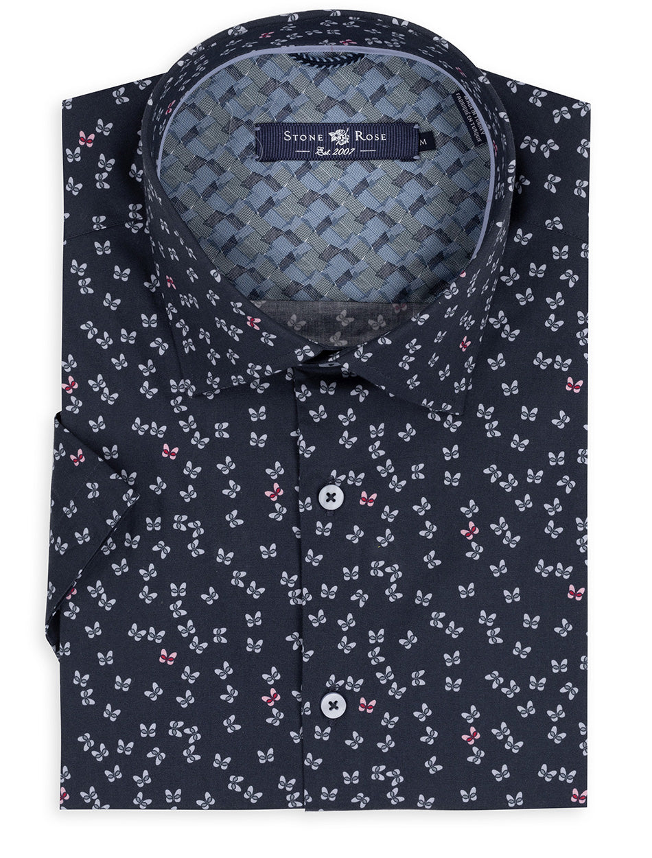 Navy Butterfly Print Short Sleeve Shirt-Stone Rose