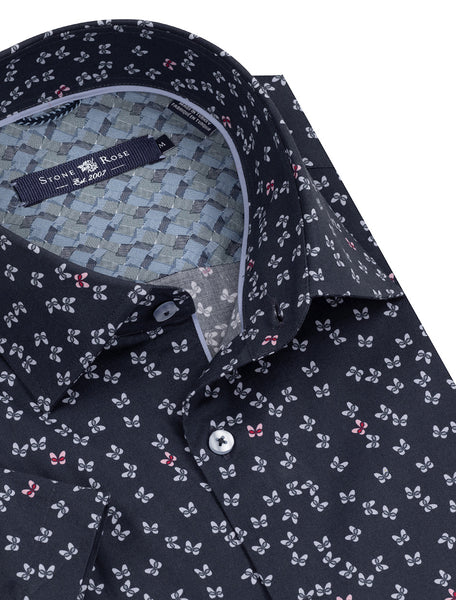 Navy Butterfly Print Short Sleeve Shirt